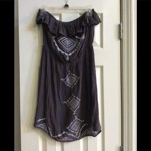 Gray sleeveless (tube top style) dress